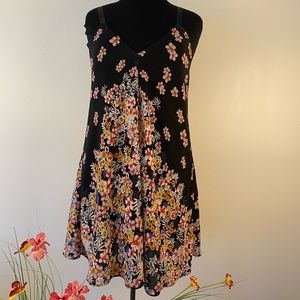 Black floral dress summer flowers mini a-line